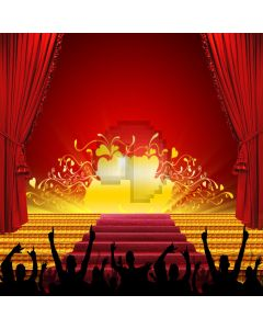 Audience silhouette and stage Computer Printed Photography Backdrop ZJZ-009