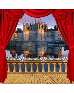 Riverside Castle View From Balcony Computer Printed Photography Backdrop ZJZ-031