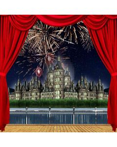 Riverside Castle Firework View From Balcony Computer Printed Photography Backdrop ZJZ-032