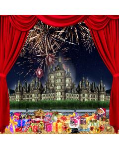 Firework Avove The Castle In Christmas Night Computer Printed Photography Backdrop ZJZ-033