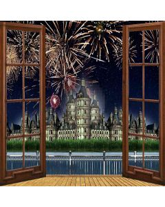 Riverside Castle Firework View From Window Computer Printed Photography Backdrop ZJZ-034