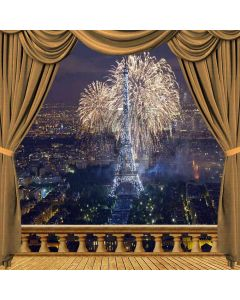 Eiffel Tower Firework Night View From Balcony Computer Printed Photography Backdrop ZJZ-036