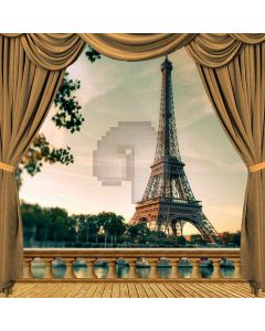 Evening Side Eiffel Tower View From Balcony Computer Printed Photography Backdrop ZJZ-037