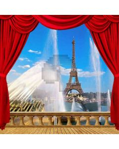 Eiffel Tower Fountain View From Balcony Computer Printed Photography Backdrop ZJZ-038