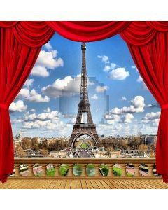 Eiffel Tower View From Balcony Computer Printed Photography Backdrop ZJZ-039