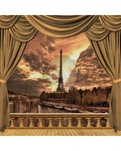 Riverside Eiffel Tower View From Balcony Computer Printed Photography Backdrop ZJZ-044