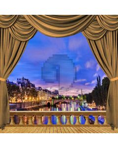 Riverside Night View From Balcony Computer Printed Photography Backdrop ZJZ-046