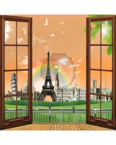 Rainbow Eiffel Tower View From Window Computer Printed Photography Backdrop ZJZ-050