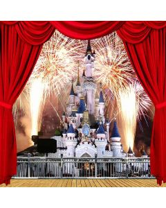 Firework Castle View From Balcony Computer Printed Photography Backdrop ZJZ-084