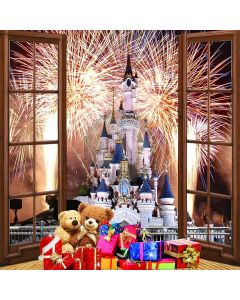 Christmas Firework Castle View From Balcony Computer Printed Photography Backdrop ZJZ-085