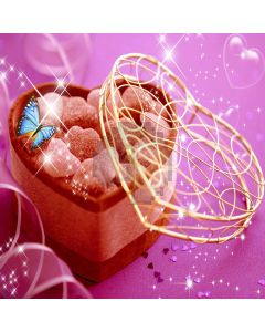 Heart shaped candy box Computer Printed Photography Backdrop ZJZ-163