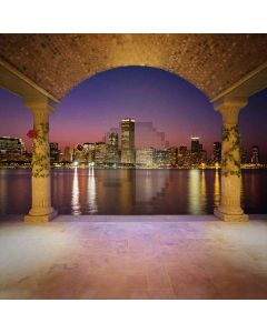 City Night Beside The River Computer Printed Photography Backdrop ZJZ-556