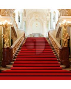 Stairs Covered Red Carpet In Fancy Hall Computer Printed Photography Backdrop ZJZ-787