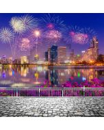 Building River Flower Firework 2020 Computer Printed Photography Backdrop ABD-970