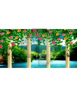 Pillar Flower Sea Mountain Computer Printed Dance Recital Scenic Backdrop ACP-1012