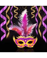 Mask Fur Purple Ribbon Computer Printed Photography Backdrop HXB-199