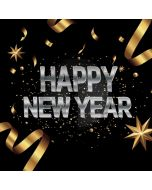 Happy New Year Golden Ribbon Computer Printed Photography Backdrop HXB-477