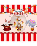 Circus Show Animals Colorful Flags Computer Printed Photography Backdrop MSL-347