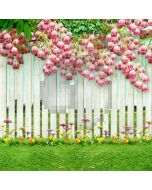 Pink Flowers On White Fence Computer Printed Photography Backdrop ZJZ-796
