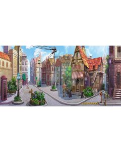 Traditional town Computer Printed Dance Recital Scenic Backdrop ACP-269