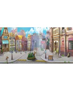 bustling town Computer Printed Dance Recital Scenic Backdrop ACP-271