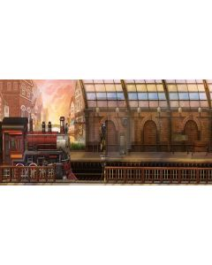 Lovely train Computer Printed Dance Recital Scenic Backdrop ACP-319