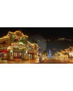 christmas street Computer Printed Dance Recital Scenic Backdrop ACP-036
