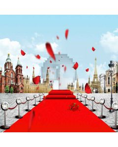 Flowery Red Carpet Digital Printed Photography Backdrop YHB-008