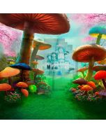 Castle Beyond Mushrooms Computer Printed Photography Backdrop HY-CM-4372