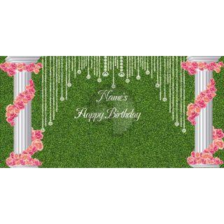 Birthday Party Flowering Pillars Computer Printed Dance Recital Scenic Backdrop ACP-1301