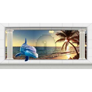 Pillars Palm Tree Seaview Computer Printed Dance Recital Scenic Backdrop ACP-1304