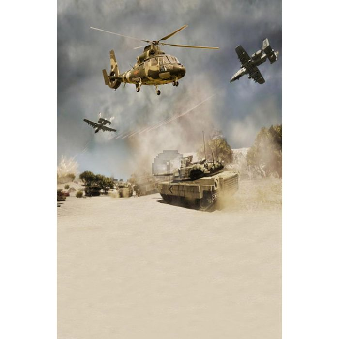 GladsBuy Tank and Fighters 10 x 10 Computer Printed Photography Backdrop Plane Theme Background S-782